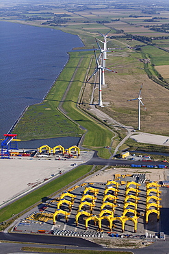 Wind turbines near harbor, Cuxhaven, Lower Saxony, Germany