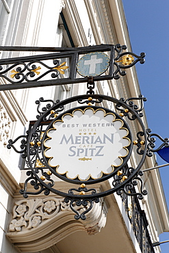 Sign showing Hotel Merian and Cafe Spitz, Klein-Basel, Basel, Switzerland