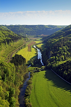 View over the Danube valley towards Beuron monastery, Upper Danube nature park, Danube river, Baden-Wuerttemberg, Germany