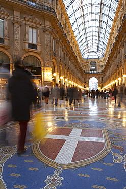 Mosaic and glass roof in the Galleria Vittorio Emanuele II, Milan, Lombardy, Italy