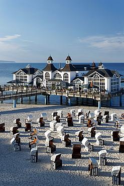 Sellin pier in the sunlight, Baltic Sea Resort Sellin, Ruegen, Mecklenburg-Western Pomerania, Germany, Europe