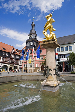 Marktbrunnen fountain of Heiliger Georg on Markplatz square and Rathaus city hall, Eisenach, Thuringia, Germany, Europe
