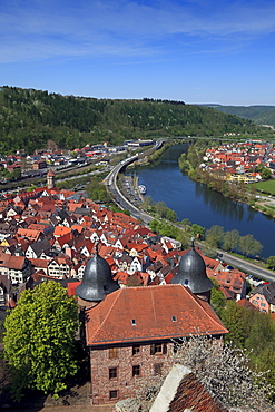 View from the castle over the Old Town and the Main river, Wertheim, Main river, Odenwald, Spessart, Baden-Wuerttemberg, Germany