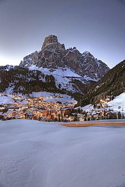 View over Corvara to mount Sassongher, Alta Badia, Dolomites, Trentino-Alto Adige/Suedtirol, Italy