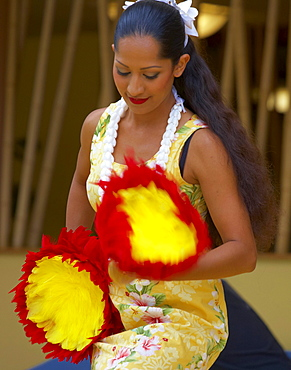 Local woman dancing Hula, Oahu, Hawaii, USA, America