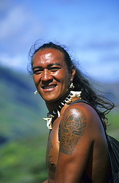 A Polynesiean at Taipi Valley on the island of Nuku Hiva, French Polynesia