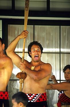 People dancing traditional Maori dance, North Island, New Zealand