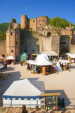 Medieval festival at Hardenburg ruin in 2009, Bad Duerkheim, Deutsche Weinstrasse, Palatinate, Rhineland-Palatinate, Germany, Europe