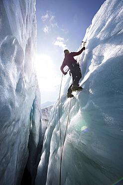 Man ice climbing, Pasterze Glacier, Grossglockner, Carinthia, Austria