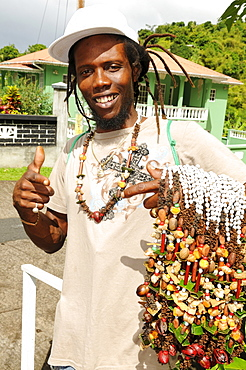 Seller of spices near Saint George, Grenada, Caribbean