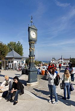 Art Nouveau Clock, Pier, Ahlbeck, Usedom, Mecklenburg-Western Pomerania, Germany