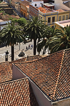 View from the tower of Iglesia de la Conception on the old town, San Cristobal de la Laguna, Tenerife, Canary Islands, Spain
