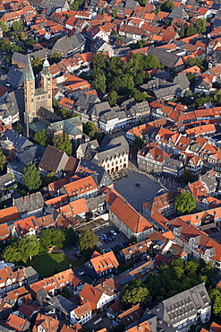 Aerial photo of the Church of St Cosmas and Damian, town hall and market square in the historic town of Goslar, Harz region, Lower Saxony, Germany