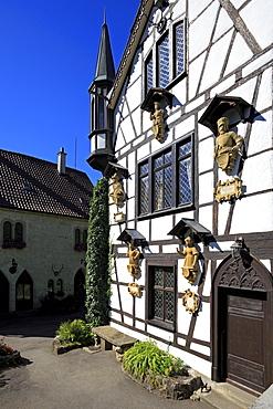 Half-timbered house in the courtyard of Lichtenstein castle, Swabian Alb, Baden-Wurttemberg, Germany