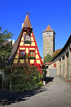 Gerlachschmiede and Roedertor, Rothenburg ob der Tauber, Tauber valley, Romantic Road, Franconia, Bavaria, Germany