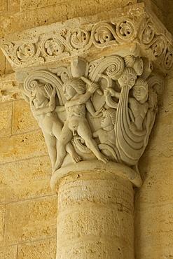 Capital inside church Iglesia San Martin, Fromista, Province of Palencia, Old Castile, Catile-Leon, Castilla y Leon, Northern Spain, Spain, Europe