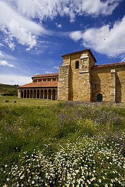 View at the monastery Monasterio de San Miguel de Escalada in the sunlight, Province of Leon, Old Castile, Castile-Leon, Castilla y Leon, Northern Spain, Spain, Europe
