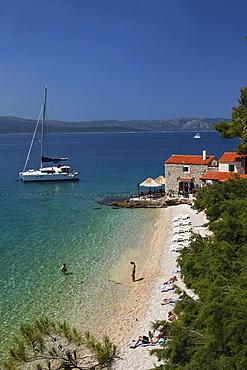 Restaurant at beach, Bol, Brac, Split-Dalmatia, Croatia