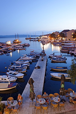 Restaurant at harbor, Bol, Brac, Split-Dalmatia county, Croatia