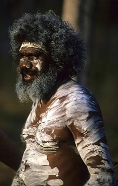 Aboriginal man painted in traditional ways at the Garma Festival in Arnhem Land, Australia