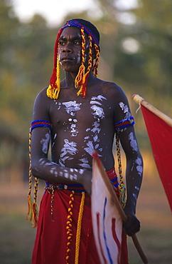 Aboriginal man painted in traditional ways at the Garma Festival in Arnhem Land