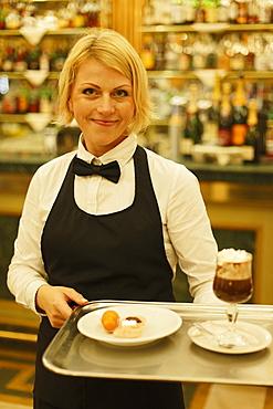 Waitress, Bicerin, Cafe San Carlo, Turin, Piedmont, Italy