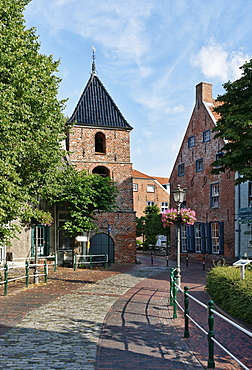 Tower of St. Mary's Church, Greetsiel, East Frisia, Lower Saxony, Germany