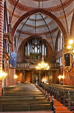 Inside Meldorf Cathedral, St. Johannes Church, Meldorf, Dithmarschen, Schleswig-Holstein, Germany