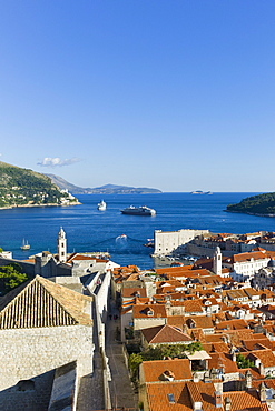 View of the old town of Dubrovnik from the city wall, Dubrovnik, Croatia, Europe