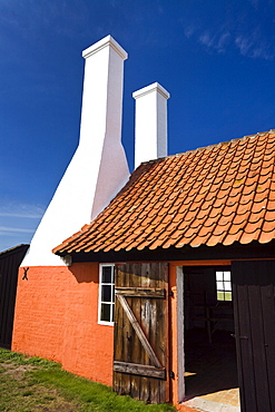Old herring smokehouse in the sunlight, museum, Hasle, Bornholm, Denmark, Europe