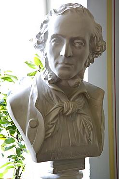 Bust of Felix Mendelssohn Bartholdy in the Mendelssohn House in Goldschmidtstrasse, Leipzig, Saxony, Germany, Europe