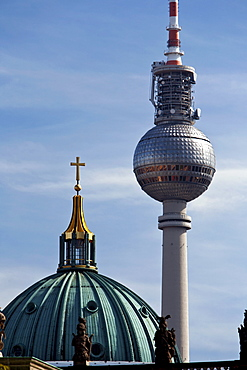 Cupola of the Berliner Dom and the Fernsehturm, Berlin, Germany