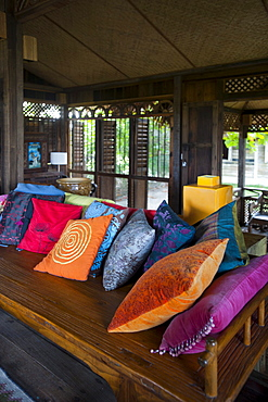 Bench with pillows at Bon Ton Resort, Lankawi Island, Malaysia, Asia