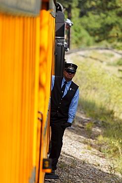 Peaked cap, Durango-Silverton Narrow Gauge Railroad, La Plata County, Colorado, USA, North America, America