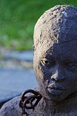 Monument to Slavery by Clara Soenaes at the historical site of the slave market near the Anglican Cathedral, Stonetown, Zanzibar City, Zanzibar, Tanzania, Africa