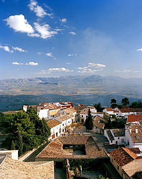View from cathedral towards Valle Alto-Guadalquivir, Baeza, Andalusia, Spain