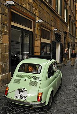 Street scenery, Fiat 500 in an alley, Rome, Lazio, Italy, Europe