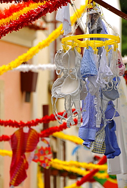 Laundry on clothes drying rack, Alfama, Lisbon, Portugal, Europe