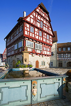 Old Town Hall with fountain, Vellberg, Hohenlohe region, Baden-Wuerttemberg, Germany, Europe