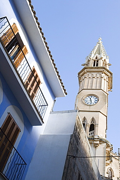 Blue and White House and Manacor Church Tower, Manacor, Mallorca, Balearic Islands, Spain