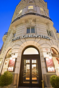View of Cafe Griensteidl in the evening, Michaela square, 1. Bezirk, Vienna, Austria, Europe