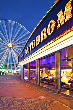 Bumper car and ferris wheel in the evening, Prater, Leopoldstadt, Vienna, Austria, Europe