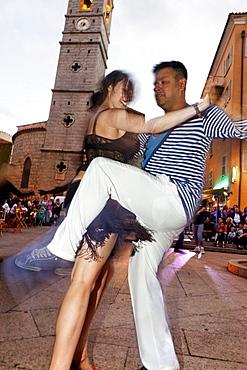 A night of Salsa dancing on Place de la RÈpublique, Porto Vecchio, Corsica, France