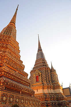 Chedis at the temple of the Reclining Buddha, Wat Pho, Bangkok, Thailand, Asia