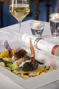 Loup de Mer with Saffron-Sepia Risotto and Serrano Sail and Orange-Saffron Foam, Zezo Restaurant at Sant Salvador Hotel, Arta, Mallorca, Balearic Islands, Spain