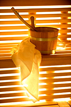 Towel and tub in a sauna, Alto Adige, South Tyrol, Italy, Europe