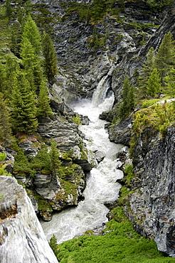 Waterfall, Val Martello, Stilfser Joch National Park, Alto Adige, South Tyrol, Italy