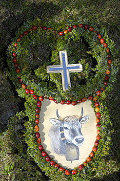 Handcrafted decoration used at ceremonial driving down of cattle from the mountain pastures, Val D'Ultimo, South Tyrol, Alto Adige, Italy, Europe