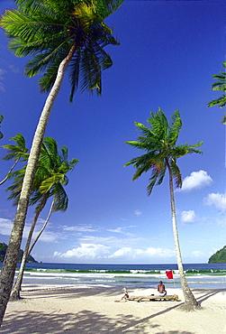 Man at palm beach looking at the sea, Maracas Bay, Trinidad, Caribbean, America