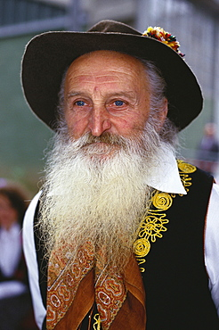 Man with beard wearing traditional costume, Wine festival, Lugano, Ticino, Switzerland, Europe